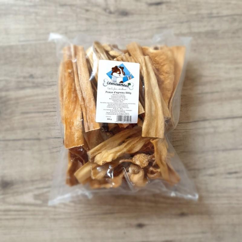 Peau d'agneau, friandise de mastication 100% naturelle pour chien